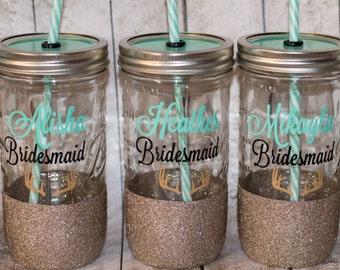 bridal party mason jar tumbler // glitter cup // wedding tumbler // bridesmaid gift // maid of honor gift // bridal party set // rustic