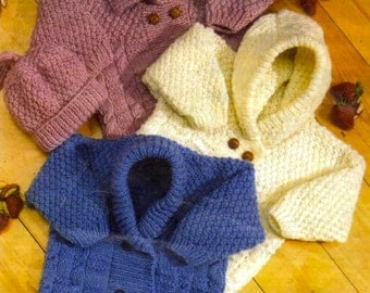 baby childrens boys girls cardigans hat and mittens aran knitting pattern  99p pdf