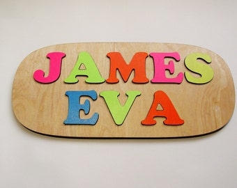 Wooden Name Puzzle ~ First & Last Name Personalized Wooden Puzzle ~ Childrens Puzzles ~ Customized Puzzle ~ Educational Toy ~ Raised Letters