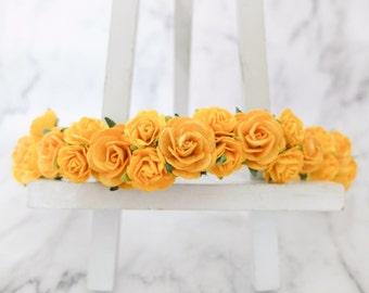 Yellow flowers crown - rose headpiece -  wedding floral halo - hair garland - head wreath