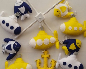 Baby mobile, Baby submarine cot mobile, yellow submarine, under the sea, cot mobile, crib mobile,  nursery decoration, bedroom decor