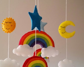 Rainbow baby mobile, cot mobile,  crib mobile, nursery mobile, nursery decor, rainbow baby, star mobile, rainbow nursery, new baby gift