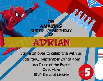 Spiderman Bowling Invitation. Spiderman Invitation. Spiderman Birthday Invitation. Spiderman Printables. Digital (you print)