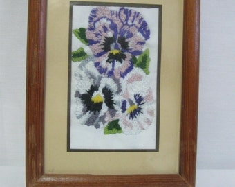 Vintage Small Hand Embroidered Violets in Frame with Glass -  Embroidered Violets