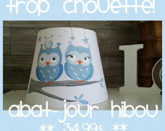 Lampshade pale blue owls