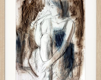 Woman drawing, Giclee print, Charcoal drawing, Woman print, Fine art print, Figurative Modern Artwork, Graphic art print, Wall decor print