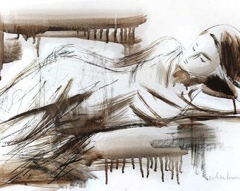 Woman sketch, Giclee print, Charcoal drawing, Woman print, Fine art print, Wall decor print, Figurative Modern Artwork, Graphic art print