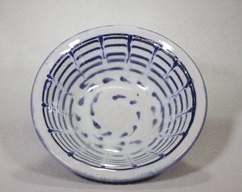 Small Dark Blue and White Stoneware Ceramic Bowl with Tadpole Underglaze Slip Design