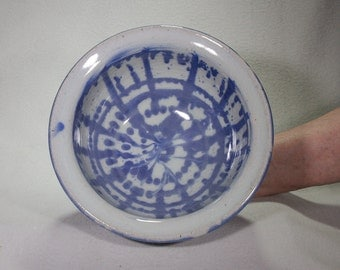 Blue and White Stoneware Bowl with Under Glaze Pattern