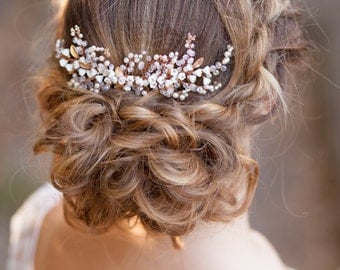 Bridal hair comb Wedding hair comb Wedding bridal headpiece Crystal hair comb Leaves hair comb Crystal pearl hair piece Sprigs hair comb
