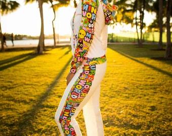 New Womens White Cotton Sweatpants; Burning Man; Gym Clothing