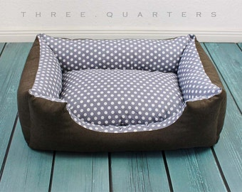 Dog bed, gray, polka dots, gray, brown, olive, cozy, soft, large, rectangular, warm cat bed, dog, cat, pet