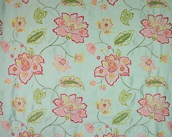 DESIGNER FLORAL VINES Embroidered Silk Fabric 10 Yards Aqua Multi