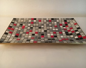 Vintage Mosaic Tiled Serving Platter Tray Gray, Red, Black