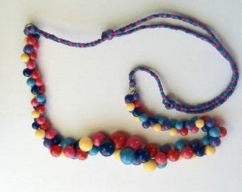 Repurposed Vintage Colorful Plastic Beaded Necklace on Adjustable Silk String