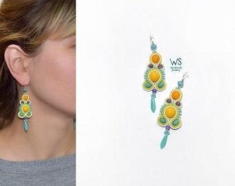 Long dangle earrings handmade. Bright fresh Earrings Soutache. Yellow, turquoise, purple. Bright summer jewelry. Handmade Jewelry