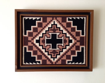 Framed needlepoint with navajo pattern