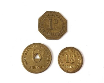 3 Old Derby Omnibus Bus Tokens,6d,1d & other.