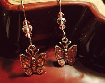 Fluttering Pink Butterfly Earrings