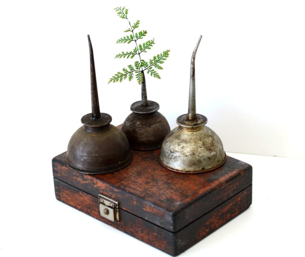 Antique Vintage Oil Cans Collection Of 3 Copper Oiling Spout