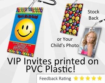 Smiley Face Invitation, PLASTIC!, for Smiley Face birthday party, Invitations  Smiley Face Birthday Invitations VIP Pass Emoticon Invitation