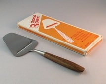 Vintage Stainless Steel & Teak Wood Handle Cheese Slicer, Danish Modern Cheese Plane, Made in  Norway