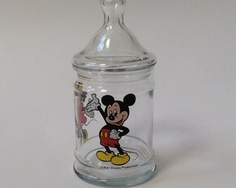 Vintage Walt Disney Productions Mickey & Minnie Mouse Glass Apothecary Jar