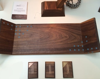 Black Walnut Serving Tray with Resin Inlay // FOOD SAFE // Free Shipping