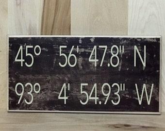 Personalized sign, latitude longitude custom wood sign, GPS, personalized gift, new home gift, new home sign, new home housewarming gift