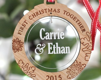 Personalised First Christmas Together Acrylic Tree Decoration Round Bauble