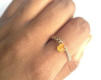 Amber Orange Crystal ring bead  grunge hippie boho statement  festival gift for teen ring orange citrine kawaii ring