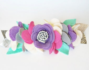 Felt Flower crown - Baby Flower Crown - Felt Flower Headband - Purple Baby Headband - Unicorn Party - Birthday Girl Crown - Photo Prop Baby