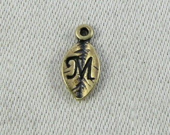 "Bronze Leaf Letter ""M"" Charm, 1 or 5 letters per package  ALF017m-BZ"