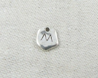 """Silver Irregular-Shape Letter """"M"""" Charm, 1 or 5 letters per package  ALF001m"""