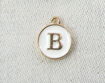 """White and Gold Enamel Letter """"B"""" Charm, 1 or 5 letters per package  ALF003b-W"""