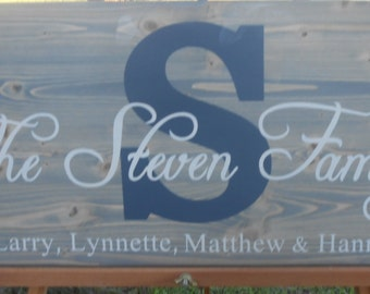 Personalized family name sign with family names, custom name sign, wedding/anniversary, wood family established sign, bless this home.