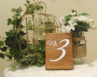 Sets of table numbers,wood wedding table numbers, single sided table numbers, rustic table number,