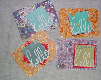 Four Hello Note Cards