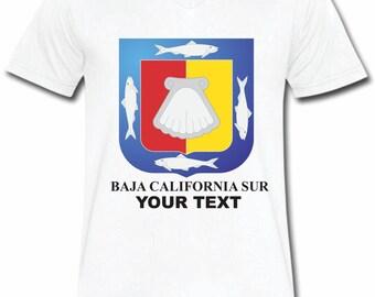 Baja California Sur Mexico T-shirt V-Neck Tee Vapor Apparel with a FREE custom text(optional)