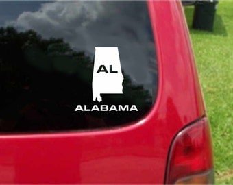 2 Pieces Alabama AL State USA Outline Map Stickers Decals 20 Colors To Choose From.  U.S.A Free Shipping