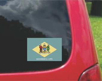 2 Pieces  Delaware  State Flag Vinyl Decals Stickers Full Color/Weather Proof. U.S.A Free Shipping