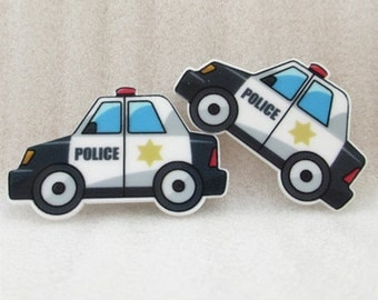 1 PIECE - Approx. 1.5 inches - Police Car Police Officer - Flat Back Resin Accent