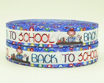 7/8 inch Back to School with Border Printed Grosgrain Ribbon for Hair Bow