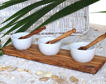 Dip bowls porcelain set of 3 (5.5 cm / 2.1 inches) + 3 spoons