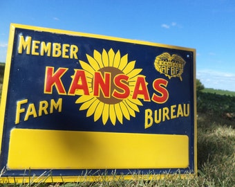 13.75 x 10 Member Kansas Farm Bureau AFBF Vintage NOS Metal Advertising Sign a