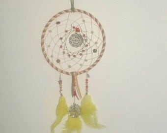 Yellow, Green, and Pink Roses Dream Catcher
