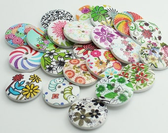 12 pcs Flower Pattern Wooden Buttons,Small Wooden Buttons,Buttons For Child,20 mmx20 mm(143-22)