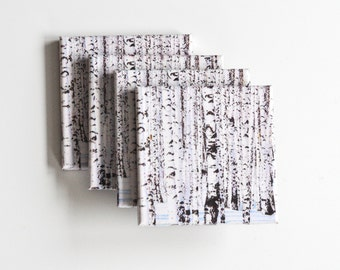Birches In The Snow Ceramic Coasters Set of 4