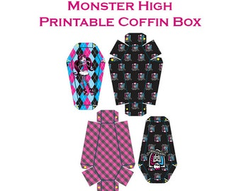 Monster High Party Printables - Monster High Party Favors - Monster High Coffin Box - Draculaura - Instant Download - Halloween Printables