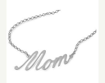 """ON SALE 925 Sterling Silver Mom Necklace - 17"""""""